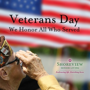 happy veterans day, shoreview senior living, shoreview mn