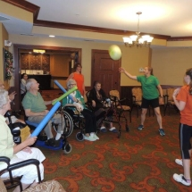 Good Shepherd Lutheran Church-Shoreview Senior Living-group playing balloon ball