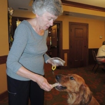 Tea and Trivia with Leo-Shoreview Senior Living-feeding Leo dog treats