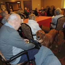 Tea and Trivia with Leo-Shoreview Senior Living-Leo exploring the crowd