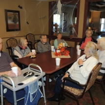 Fall Tea Party-Shoreview Senior Living-Enjoying their apple cider