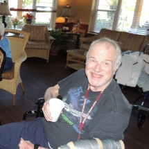 Fall Tea Party-Shoreview Senior Living-Sipping on his apple cider