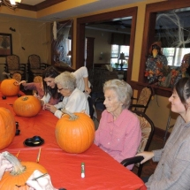 Pumpkin Painting-Shoreview Senior Living-ready to paint pumpkins