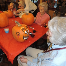 Pumpkin Painting-Shoreview Senior Living-scary pumpkin painting