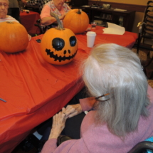 Pumpkin Painting-Shoreview Senior Living-finished pumpkin painting